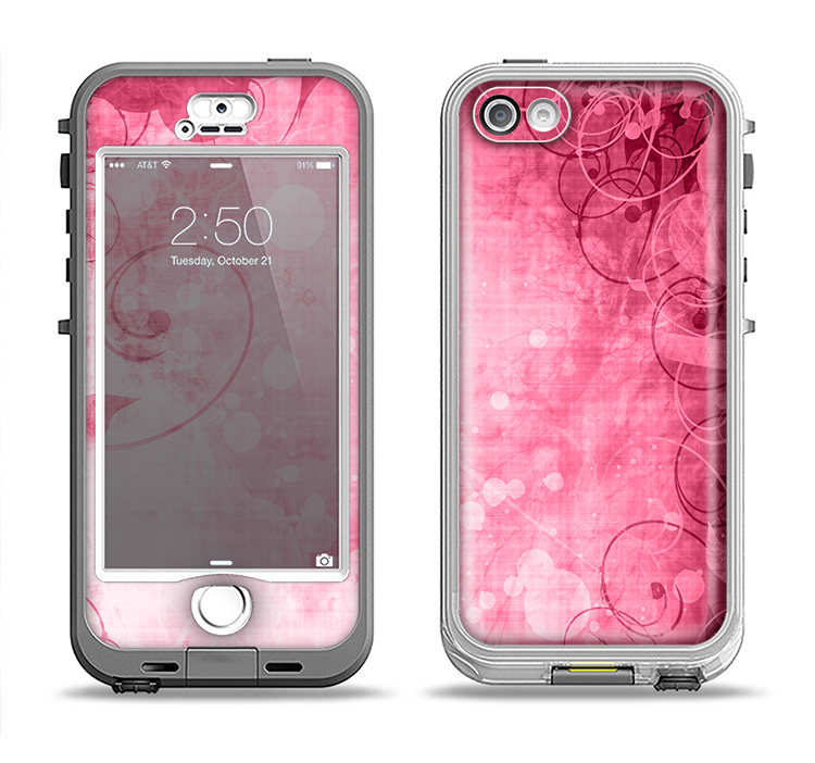 The Grungy Pink Painted Swirl Pattern Apple iPhone 5-5s LifeProof Nuud Case Skin Set