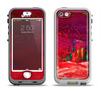 The Grungy Red Abstract Paint Apple iPhone 5-5s LifeProof Nuud Case Skin Set