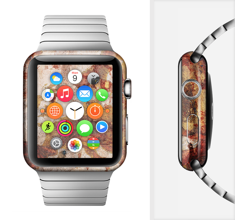 The Grungy Red Panel V3 Full-Body Skin Set for the Apple Watch