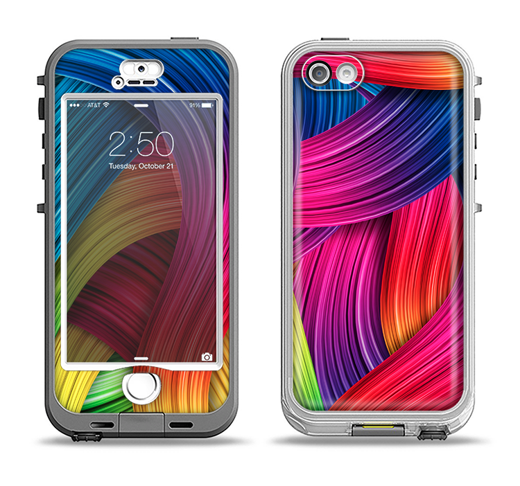 The HD Vibrant Colored Strands Apple iPhone 5-5s LifeProof Nuud Case Skin Set