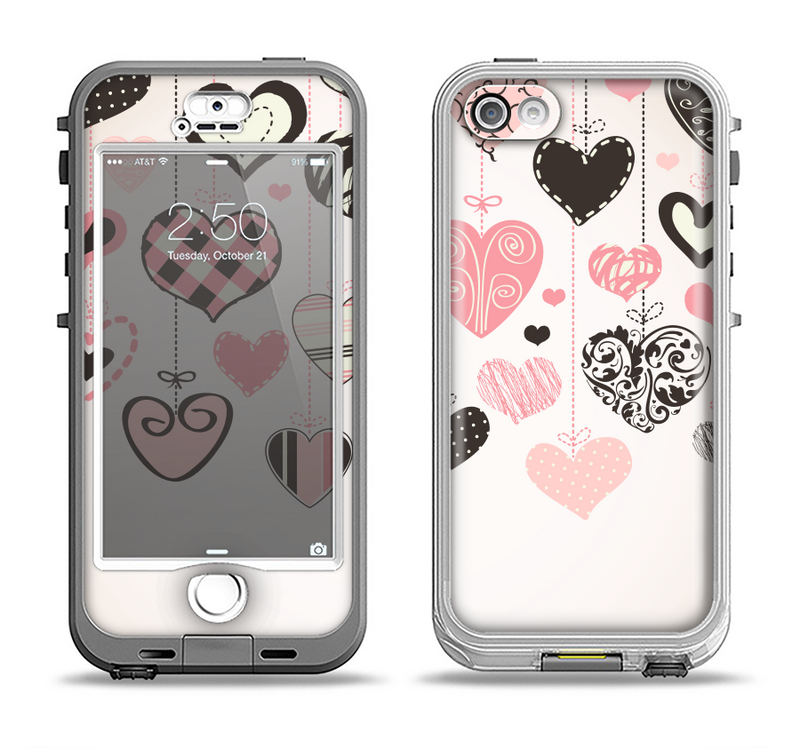 The Hanging Styled-Hearts Apple iPhone 5-5s LifeProof Nuud Case Skin Set
