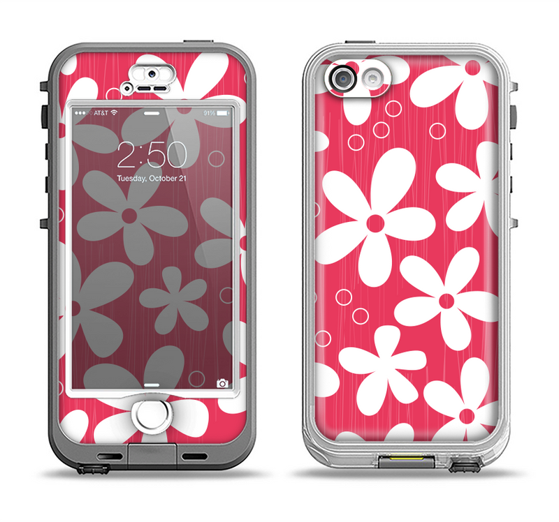 The Hanging White Vector Floral Over Red Apple iPhone 5-5s LifeProof Nuud Case Skin Set