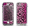 The Hot Pink Cheetah Animal Print Apple iPhone 5-5s LifeProof Nuud Case Skin Set