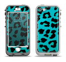 The Hot Teal Vector Leopard Print Apple iPhone 5-5s LifeProof Nuud Case Skin Set