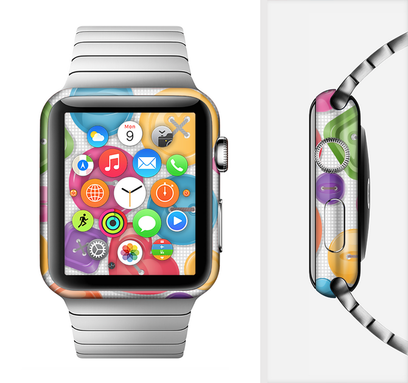 The Icon Shaped Color Buttons Full-Body Skin Set for the Apple Watch
