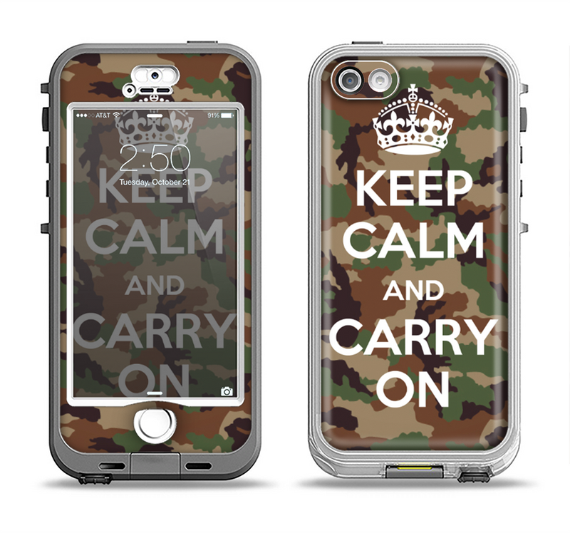 The Keep Calm & Carry On Camouflage Apple iPhone 5-5s LifeProof Nuud Case Skin Set