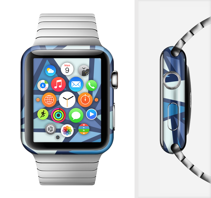 The Large Vector Shards of Blue Full-Body Skin Set for the Apple Watch