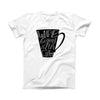 The Life Begins After Coffee ink-Fuzed Front Spot Graphic Unisex Soft-Fitted Tee Shirt