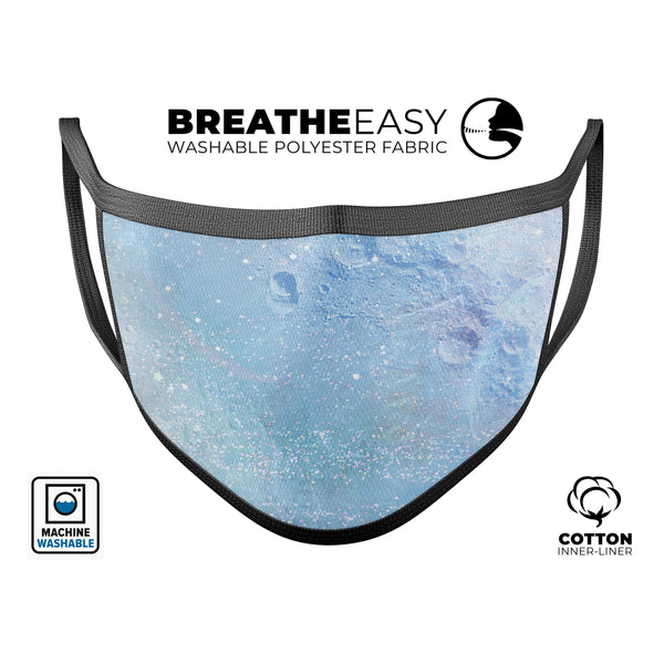 The Light Blue Cratered Moon Surface - Made in USA Mouth Cover Unisex Anti-Dust Cotton Blend Reusable & Washable Face Mask with Adjustable Sizing for Adult or Child