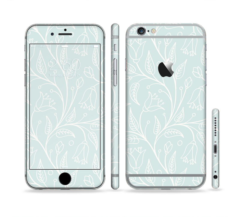 The Light Blue Floral Branches Sectioned Skin Series for the Apple iPhone 6/6s Plus