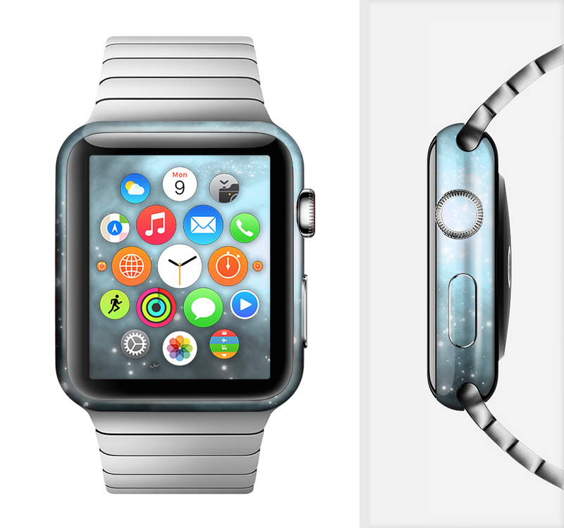 The Light & Dark Blue Space Full-Body Skin Set for the Apple Watch