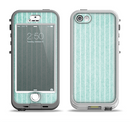 The Light Green Scratched Stripe Pattern v4 Apple iPhone 5-5s LifeProof Nuud Case Skin Set