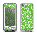 The Light Green & White Floral Sprout Apple iPhone 5-5s LifeProof Nuud Case Skin Set