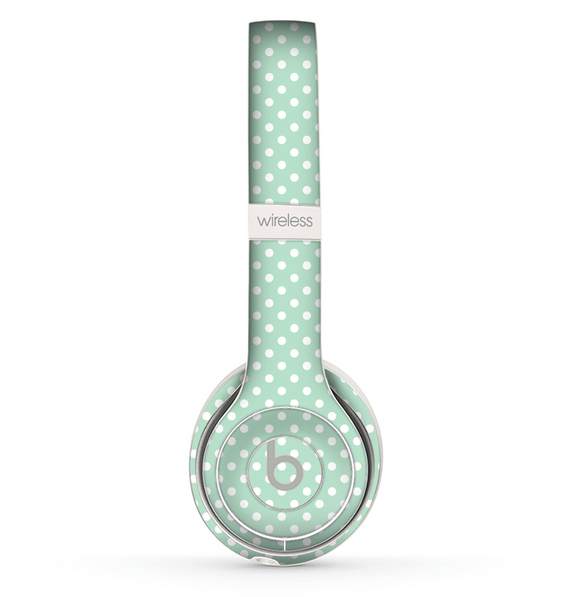 The Light Green with White Polkadots Skin Set for the Beats by Dre Solo 2 Wireless Headphones
