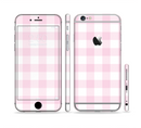 The Light Pink and White Plaid Pattern Sectioned Skin Series for the Apple iPhone 6/6s Plus
