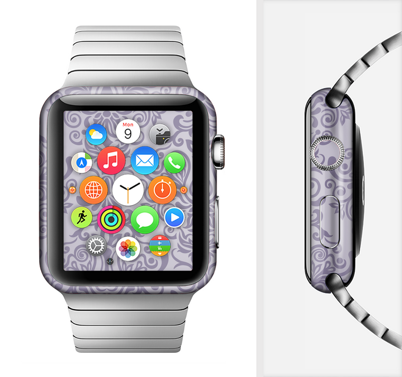 The Light Purple Damask Floral Pattern Full-Body Skin Set for the Apple Watch