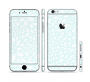 The Light Teal Blue & White Floral Sprout Sectioned Skin Series for the Apple iPhone 6/6s Plus