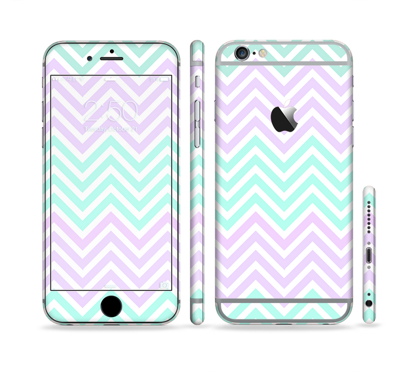 The Light Teal & Purple Sharp Chevron Sectioned Skin Series for the Apple iPhone 6/6s Plus