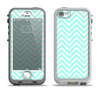 The Light Teal & White Sharp Chevron Apple iPhone 5-5s LifeProof Nuud Case Skin Set