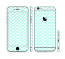 The Light Teal & White Sharp Chevron Sectioned Skin Series for the Apple iPhone 6/6s Plus