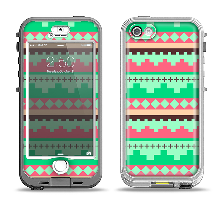The Lime Green & Coral Tribal Ethic Geometric Pattern Apple iPhone 5-5s LifeProof Nuud Case Skin Set