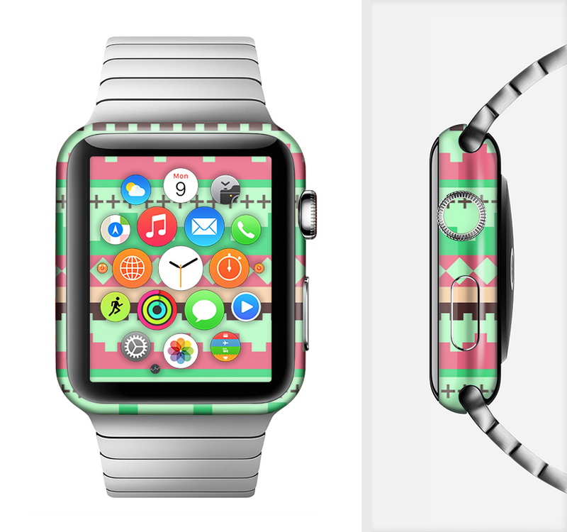 The Lime Green & Coral Tribal Ethic Geometric Pattern Full-Body Skin Set for the Apple Watch