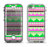 The Lime Green & Pink Tribal Ethic Geometric Pattern Apple iPhone 5-5s LifeProof Nuud Case Skin Set