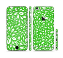 The Lime Green & White Floral Sprout Sectioned Skin Series for the Apple iPhone 6/6s Plus