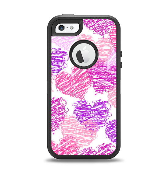 0e5ae25cfc The Loopy Pink and Purple Hearts Apple iPhone 5-5s Otterbox Defender Case  Skin Set