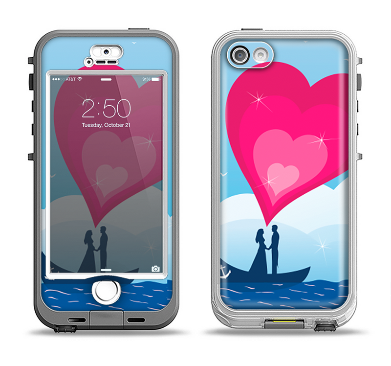 The Love-Sail Heart Trip Apple iPhone 5-5s LifeProof Nuud Case Skin Set
