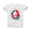 The Love, Cupcakes and Watercolor ink-Fuzed Front Spot Graphic Unisex Soft-Fitted Tee Shirt