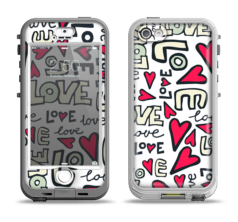 The Love and Hearts Doodle Pattern Apple iPhone 5-5s LifeProof Nuud Case Skin Set