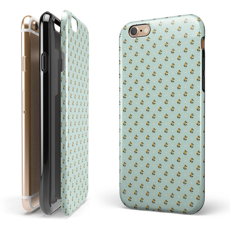 The Micro Daisy and Mint Polka Dot Pattern iPhone 6/6s or 6/6s Plus 2-Piece Hybrid INK-Fuzed Case