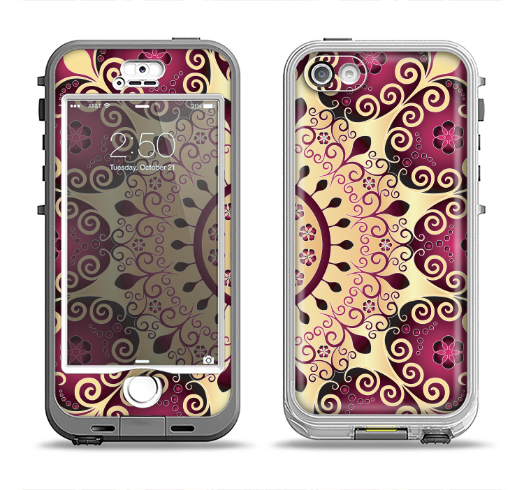 The Mirrored Gold & Purple Elegance Apple iPhone 5-5s LifeProof Nuud Case Skin Set
