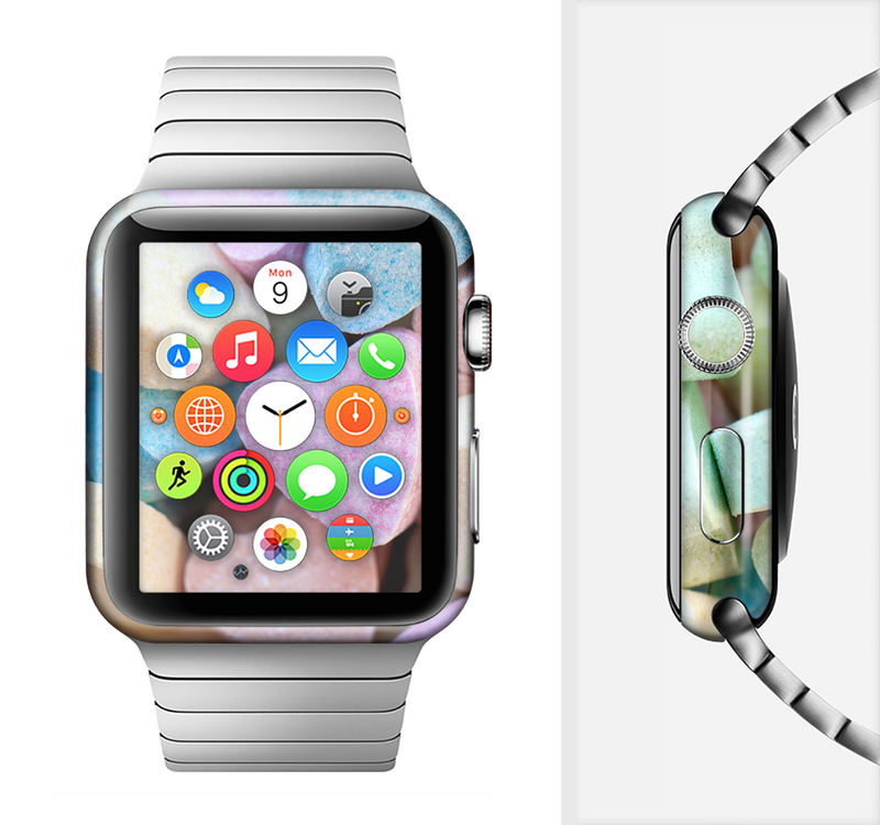 The Multicolored Candy Hearts Full-Body Skin Set for the Apple Watch