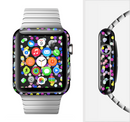 The Multicolored Polka with Black Background Full-Body Skin Set for the Apple Watch