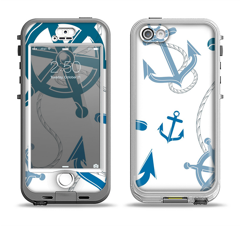 The Nautical Anchor Collage Apple iPhone 5-5s LifeProof Nuud Case Skin Set