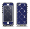 The Navy Blue & White Seamless Anchor Pattern Apple iPhone 5-5s LifeProof Nuud Case Skin Set