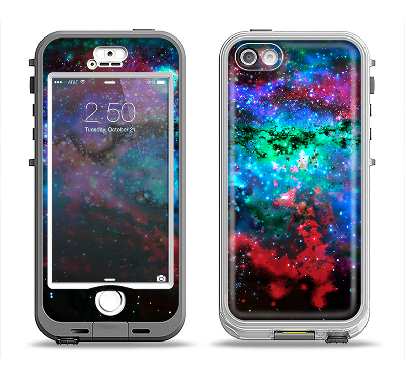 The Neon Colored Paint Universe Apple iPhone 5-5s LifeProof Nuud Case Skin Set