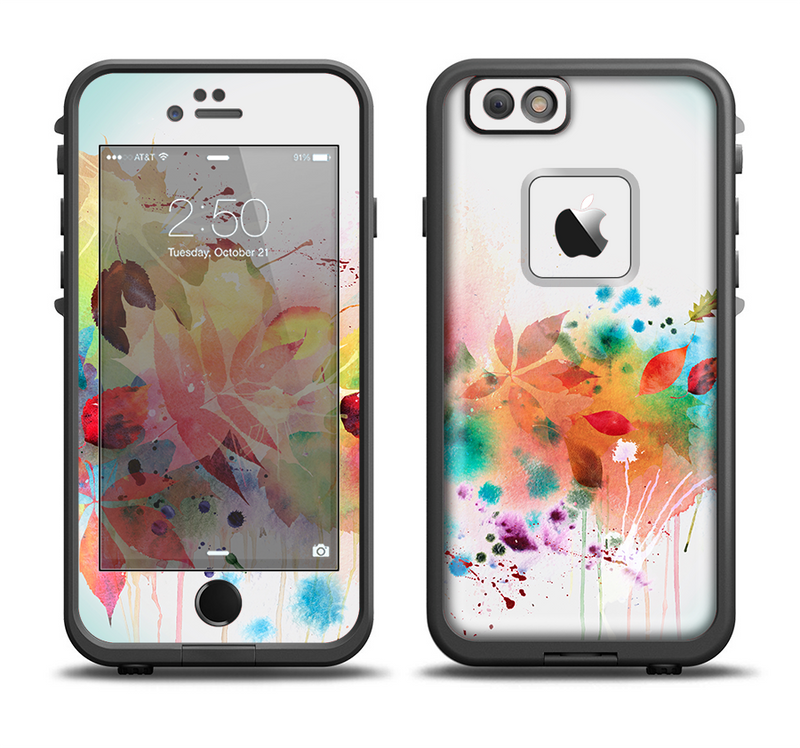 The Neon Colored Watercolor Branch Apple iPhone 6/6s LifeProof Fre Case Skin Set