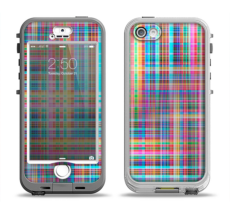 The Neon Faded Rainbow Plaid Apple iPhone 5-5s LifeProof Nuud Case Skin Set