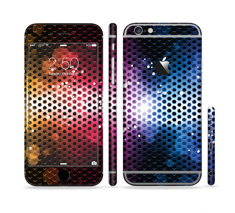 The Neon Glowing Grill Mesh Sectioned Skin Series for the Apple iPhone 6/6s Plus