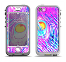 The Neon Pink & Turquoise Peacock Feather Apple iPhone 5-5s LifeProof Nuud Case Skin Set