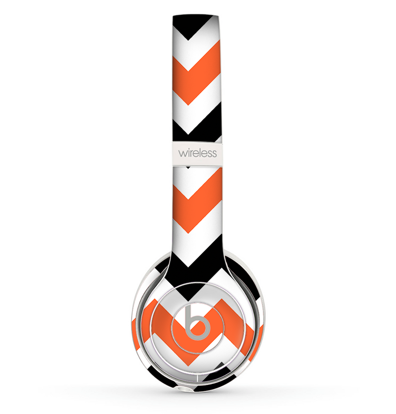 The Orange & Black Chevron Pattern Skin Set for the Beats by Dre Solo 2 Wireless Headphones