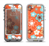 The Orange Vector Floral with Blue Apple iPhone 5-5s LifeProof Nuud Case Skin Set
