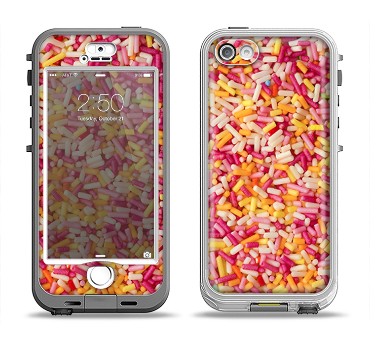 The Orange and Pink Candy Sprinkles Apple iPhone 5-5s LifeProof Nuud Case Skin Set