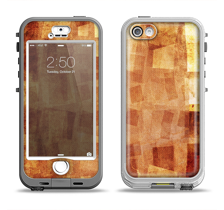 The Oranged Patch Layers Vintage Apple iPhone 5-5s LifeProof Nuud Case Skin Set