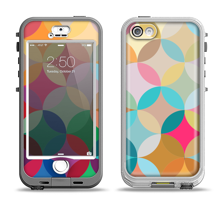 The Overlaping Colorful Connect Circles Apple iPhone 5-5s LifeProof Nuud Case Skin Set