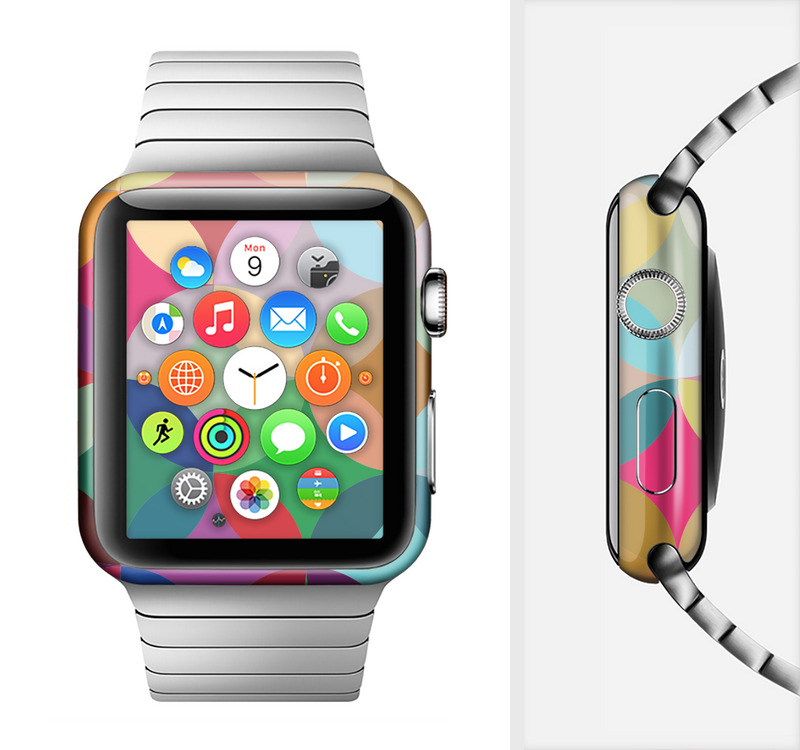 The Overlaping Colorful Connect Circles Full-Body Skin Set for the Apple Watch
