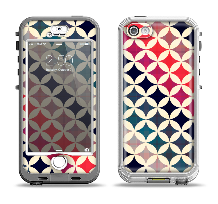 The Overlapping Retro Circles Apple iPhone 5-5s LifeProof Nuud Case Skin Set